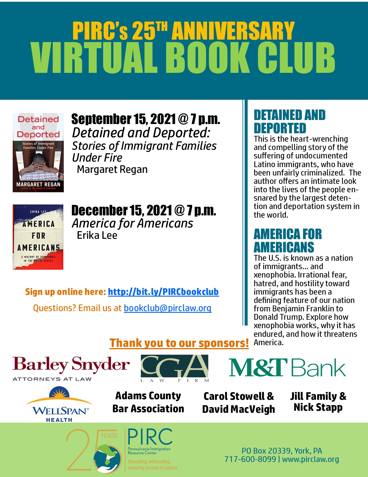 PIRC 25th Anniversary Book Club - September and December Books